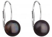 Stříbrné náušnice s tmavou perlou 7,5 mm