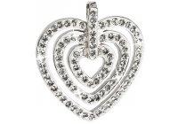 Stříbrný přívěsek Swarovski trojité srdce