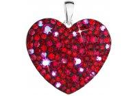 Stříbrné srdce poseté červenými krystaly Swarovski