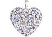 Stříbrné srdce poseté fialovými krystaly Swarovski