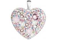 Stříbrné srdce poseté růžovými krystaly Swarovski