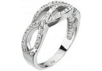 Stříbrný prsten Swarovski s proplétaným motivem