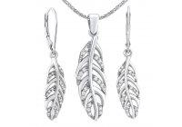 Stříbrná souprava šperků s pírky