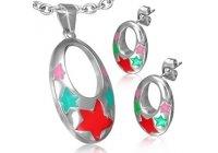 Souprava ocelových šperků s hvězdičkami