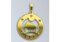 Zlatý přívěsek Býk - latinský nápis
