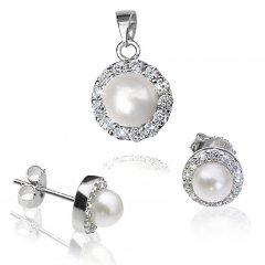 Stříbrná souprava s perlou a zirkony