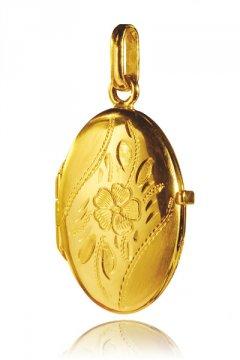 Zlatý medailon - ovál s květinou 23 x 15 mm