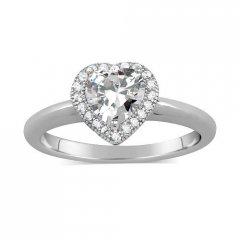 Stříbrný prsten - srdce se zirkony
