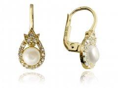 Zlaté náušnice s perlou a zirkony