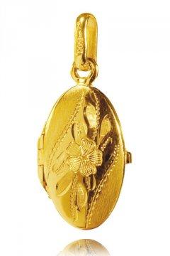 Zlatý medailon - ovál s květinou 20 x 12 mm