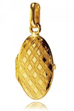 Otvírací zlatý medailon se vzorem 20 x 12 mm