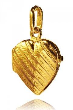 Otvírací zlatý medailon - srdce se vzorem