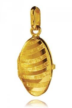 Zlatý přívěsek - medailon se vzorem 20 x 12 mm