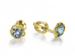 Zlaté náušnice s květinou - modrá