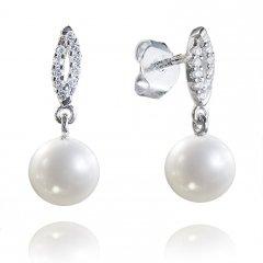 Náušnice z bílého zlata s pravými perlami