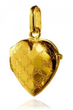 Zlatý přívěsek - medailon ve tvaru srdce se vzorem
