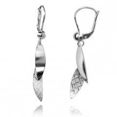 Elegantní stříbrné visací náušnice s oblými motivy