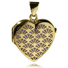 Luxusní zlatý medailon srdce 20 x 20 fialová