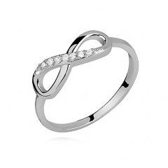Stříbrný prsten Infinity s čirými zirkony
