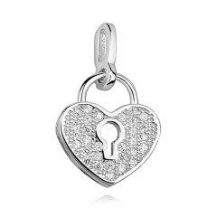 Stříbrný přívěsek - zámek ve tvaru srdce
