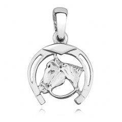 Stříbrný přívěsek s motivem koně v podkově
