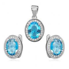 Elegantní stříbrná souprava - tyrkysově modrá