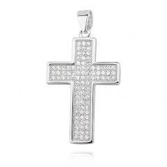 Stříbrný křížek se zirkony 25 x 17 mm