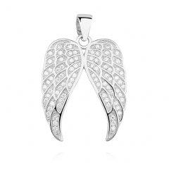 Stříbrný přívěsek se zirkony - křídla