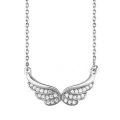 Stříbrný náhrdelník se zirkony - křídla