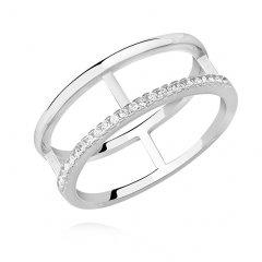 Stříbrný prsten - dva spojené kruhy