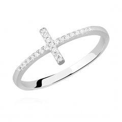 Stříbrný prsten se zirkony - křížek