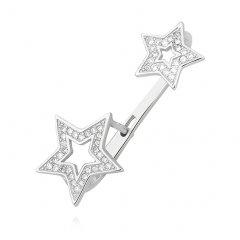 Stříbrná lemující náušnice s hvězdami