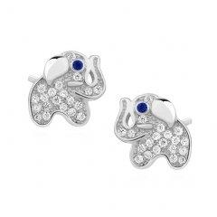 Stříbrné náušnice - miniaturní sloni se zirkony