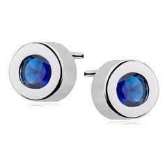 Stříbrné náušnice s kulatým zirkonem - modrá