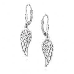 Stříbrné visací náušnice křídla se zirkony