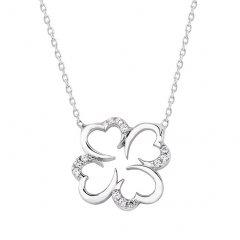 Stříbrný náhrdelník - čtyřlístek se zirkony