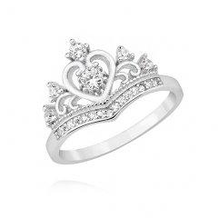 Stříbrný prsten ve tvaru korunky