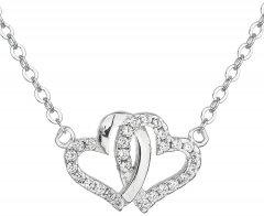 Stříbrný náhrdelník - dvě srdce se zirkony