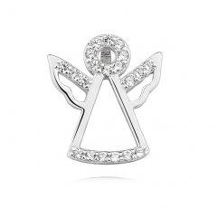 Stříbrný přívěsek - anděl 15 mm se zirkony