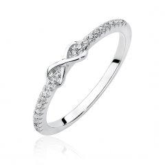 Jemný stříbrný prsten Nekonečno s čirými zirkony