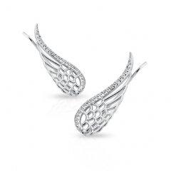 Stříbrné lemující náušnice - křídla se zirkony
