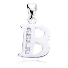 Stříbrný přívěsek se zirkony - písmeno B