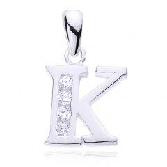 Stříbrný přívěsek se zirkony - písmeno K