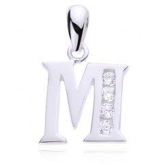 Stříbrný přívěsek se zirkony - písmeno M