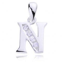 Stříbrný přívěsek se zirkony - písmeno N