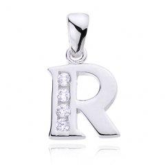 Stříbrný přívěsek se zirkony - písmeno R