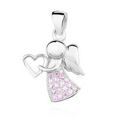 Stříbrný přívěsek - anděl se srdíčkem růžový