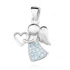 Stříbrný přívěsek - anděl se srdíčkem modrý