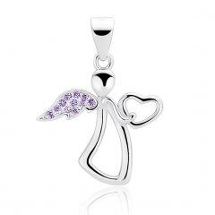 Jemný stříbrný přívěsek - anděl se srdíčkem fialový