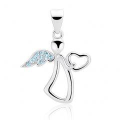 Jemný stříbrný přívěsek - anděl se srdíčkem modrý